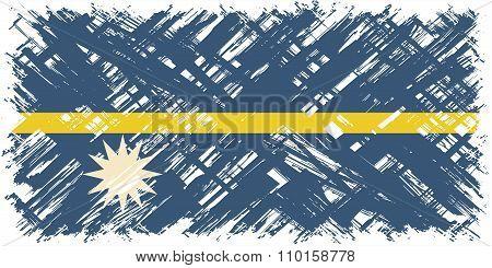 Nauru grunge flag. Vector illustration.