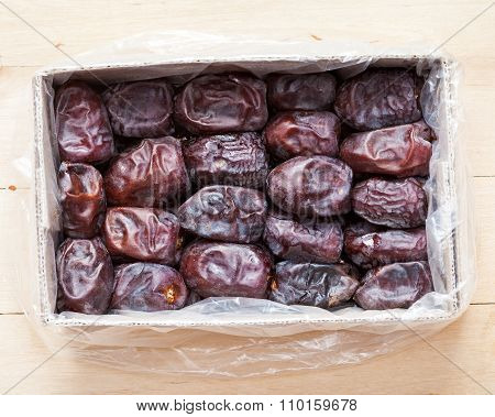Dates Fruits In Box, Top View.