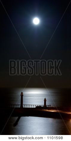 Moonrise Over Whitby Piers