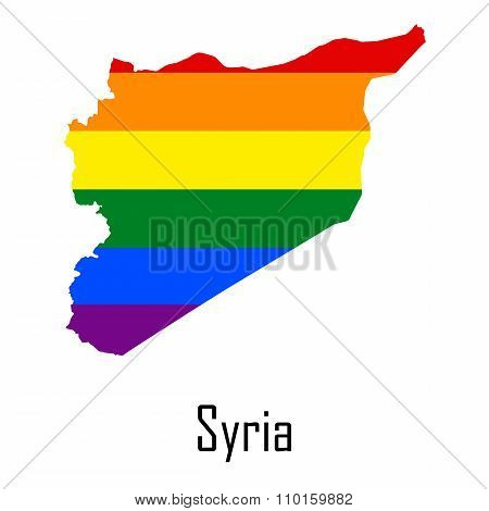Vector Rainbow Map Of Syria In Colors Of Lgbt - Lesbian, Gay, Bisexual, And Transgender - Pride Flag