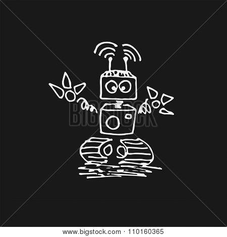White Robot Cyborg Vector Icon