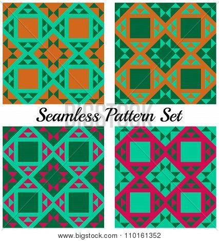 Set Of 4 Trendy Geometric Patterns With Triangles And Squares Of Green, Orange And Magenta Shades