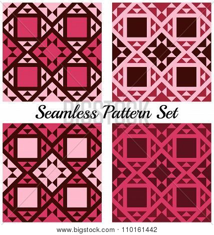 Set Of 4 Contemporary Geometric Seamless Patterns With Triangles And Squares Of Burgundy, Purple, Vi