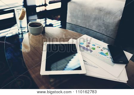 Touch pad and cell telephone with copy space screen for your text message or advertising content