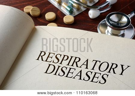 Book with diagnosis respiratory diseases.