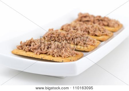 Tuna Meat On Crackers Canape