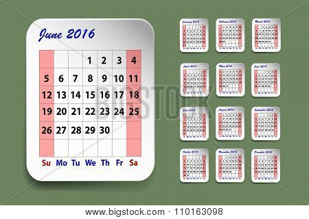 Calendar For June 2016
