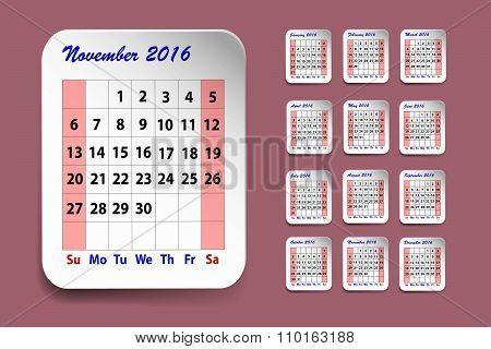 Calendar For November 2016