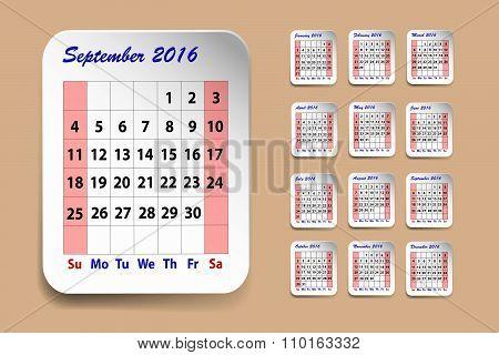 Calendar For September2016