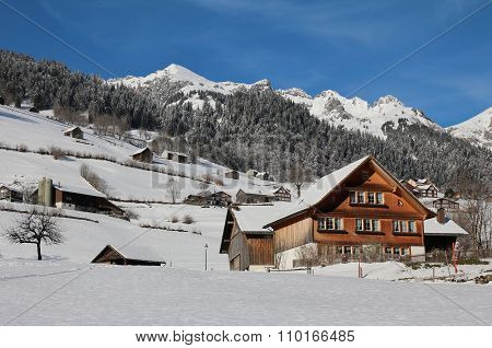 Idyllic Winter Scene In The Toggenburg Valley