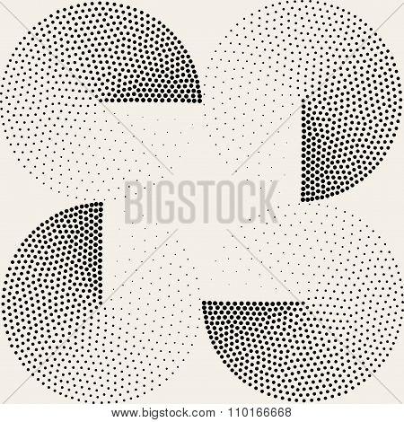 Vector Seamless Black White Half Circles Stippling  Halftone Pattern