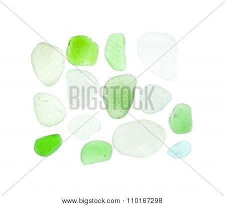 Sea Glass Pieces On White