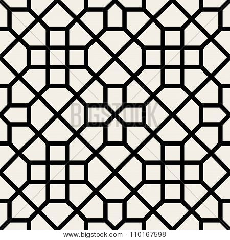 Vector Seamless Black And White Geometric Cross Pattern