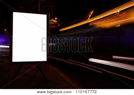 Illuminated blank billboard with copy space for your text message or promotional content