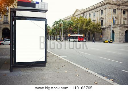 Advertising mock up empty banner in metropolitan city at day