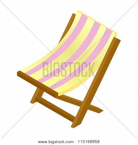 Wooden chaise lounge isometric 3d icon