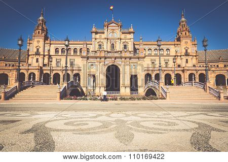 SEVILLE,SPAIN-3,MAY,2014: Beautiful Plaza De Espana, Sevilla, Spain