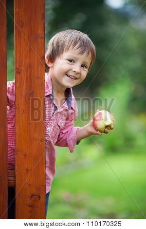 Adorable Boy, Holding Apple, Standing Next To A Door