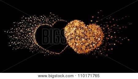 Two Golden Hearts On Black Background. Concept Of Eternal Love