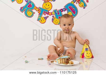 Little Baby Boy With Birthday Cake, Smashing It