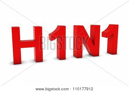 H1N1 Flu Red 3D Text Isolated On White With Shadows