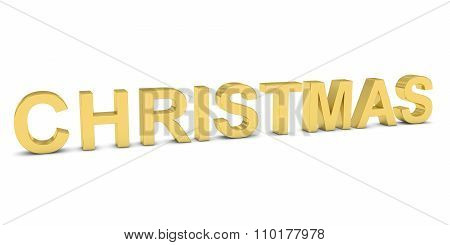 Christmas Gold 3D Text Isolated On White With Shadows