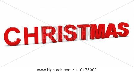 Christmas Red 3D Text Isolated On White With Shadows