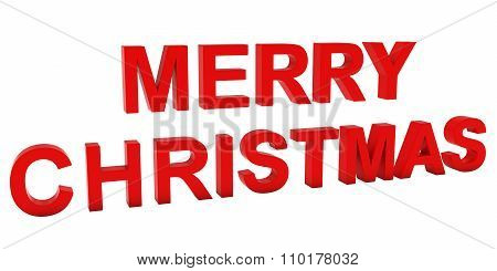 Merry Christmas Red 3D Text Isolated On White