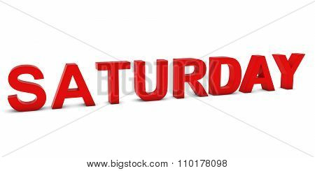 Saturday Red 3D Text Isolated On White With Shadows