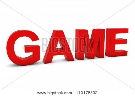 Game Red 3D Text Isolated On White With Shadows