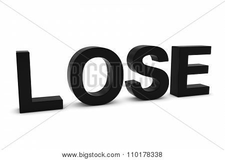 Lose Black 3D Text Isolated On White With Shadows