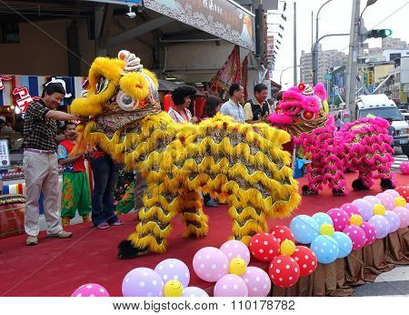 Lion Dancers Perform At Opening Ceremony