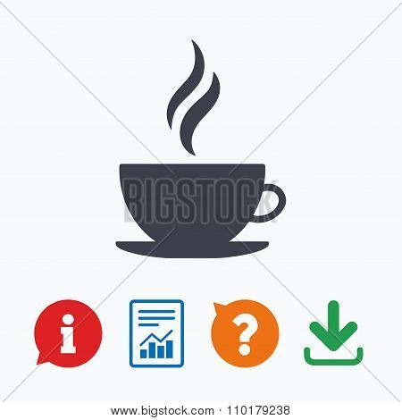 Coffee cup sign icon. Hot coffee button.