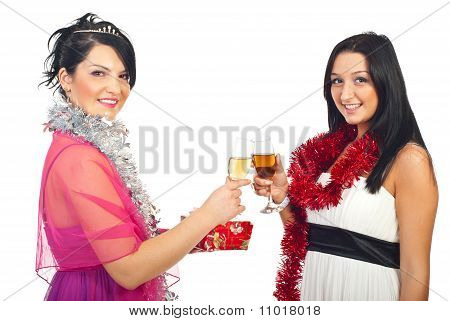 Women At Christmas Party Toasting