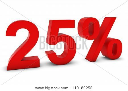 25% - Twenty Five Percent Red 3D Text Isolated On White