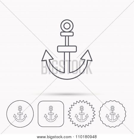 Anchor icon. Nautical drogue sign. Sea symbol.