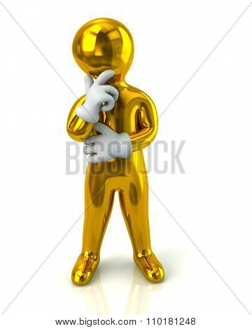 Golden Thinking Man