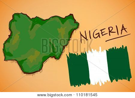 Nigeria Map And National Flag Vector