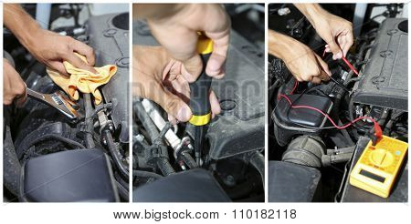 Repairing car in details, collage