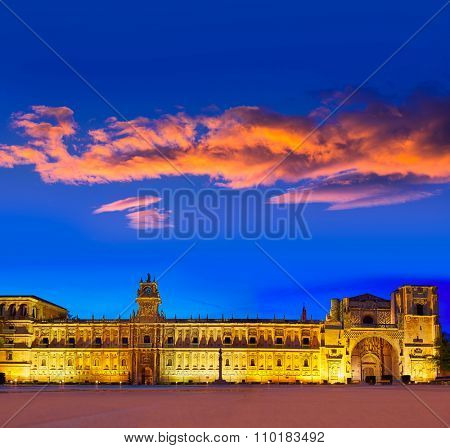 San Marcos in Leon sunset at the way of Saint James Castilla Spain