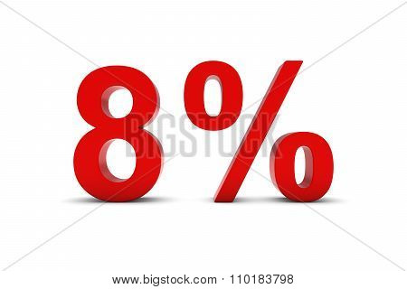 8% - Eight Percent Red 3D Text Isolated On White