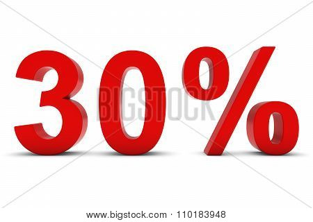 30% - Thirty Percent Red 3D Text Isolated On White
