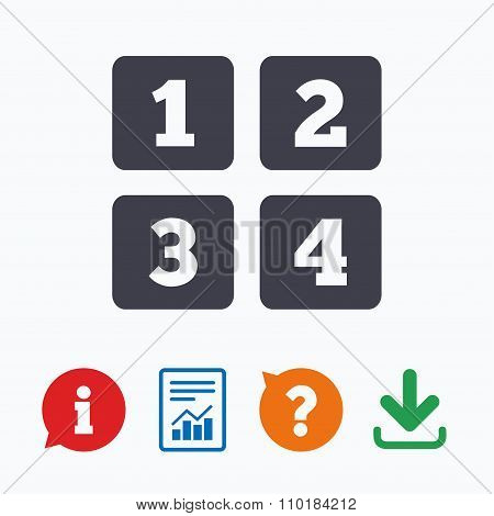 Cellphone keyboard sign icon. Digits symbol.