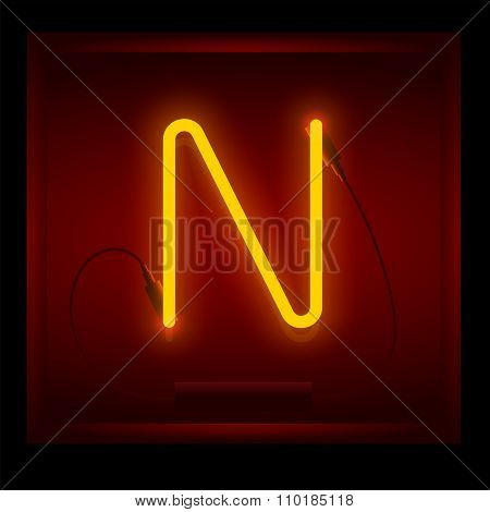Realistic Neon Letter N Vector Illustration. Glowing Font.