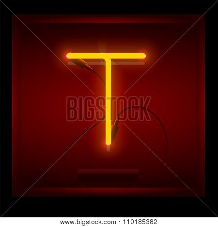 Realistic neon letter T vector illustration. Glowing font.