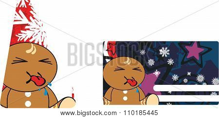 little xmas gingerbread kid cartoon gift card