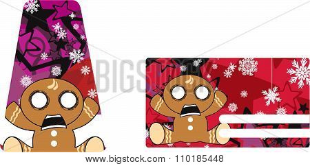 xmas gingerbread child cartoon gift card