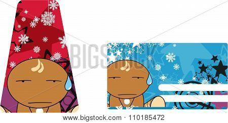 sad xmas gingerbread kid cartoon gift card