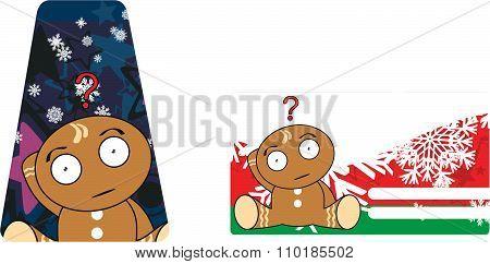 xmas gingerbread kid cartoon gift card