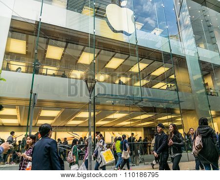 Unidentify peoples crowd and Apple Store in Hong Kong